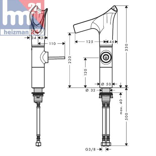hansgrohe axor starck v a lever handle basin mixer 220. Black Bedroom Furniture Sets. Home Design Ideas