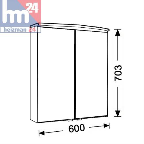 Artiqua Climasan Arco 2D Spiegelschrank 60 x 70,3 cm 2 türig