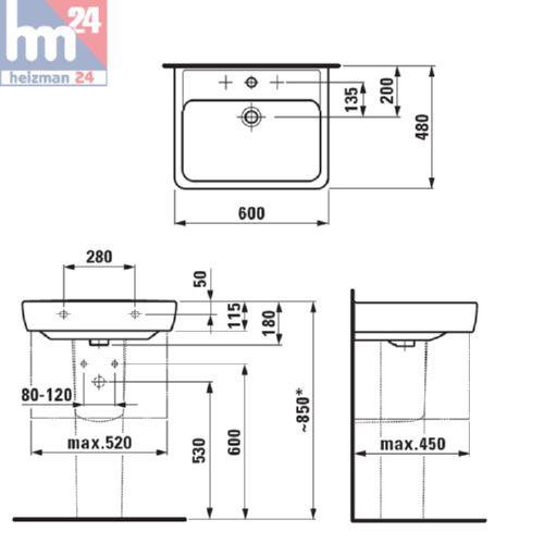 laufen pro a waschbecken waschtisch 60 x 48 cm in wei 8189520001041 ebay. Black Bedroom Furniture Sets. Home Design Ideas
