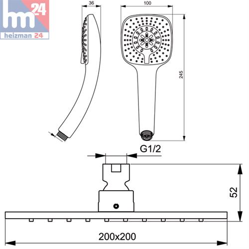 ideal standard idealrain cube duschsystem mit ceratherm. Black Bedroom Furniture Sets. Home Design Ideas