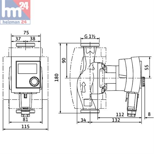 wilo stratos pico 25 1 4 180 mm hocheffizienzpumpe 4132452 ebay. Black Bedroom Furniture Sets. Home Design Ideas