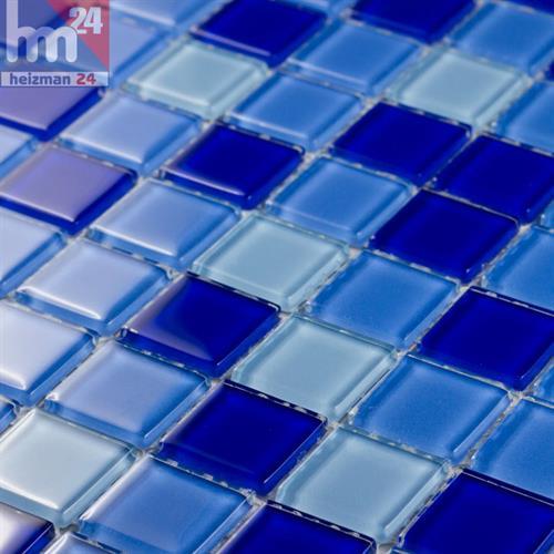 Mosaico in vetro azul mix mar piastrelle azzurro blu scuro 29 5x29 5 bagno ebay - Mosaico vetro bagno ...