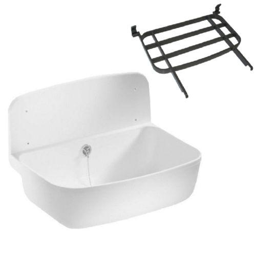 sanit ausgussbecken waschbecken 495x345mm mit berlauf optional ablagerost ebay. Black Bedroom Furniture Sets. Home Design Ideas