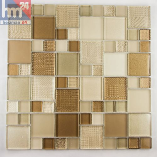 Mosaico in Vetro Bojano Piastrelle Marrone Chiaro Beige 29,5x29,5x0 ...