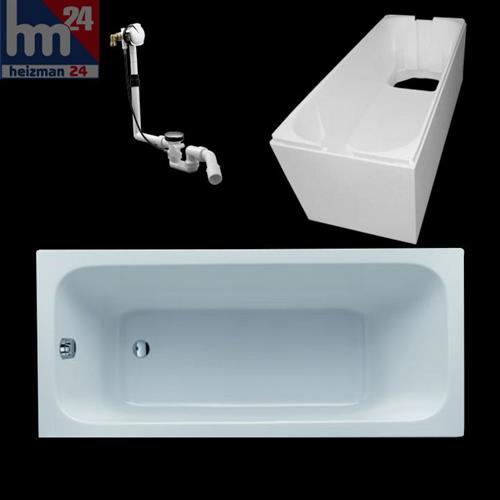 keramag renova nr 1 rechteck badewanne inkl tr ger mit ab und berlaufgarnitur ebay. Black Bedroom Furniture Sets. Home Design Ideas